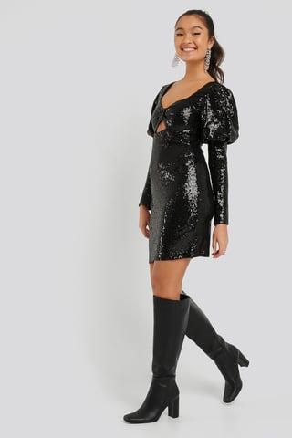 Black Mini Sequined Dress