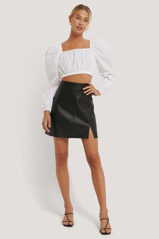 Black Mini Slit PU Skirt