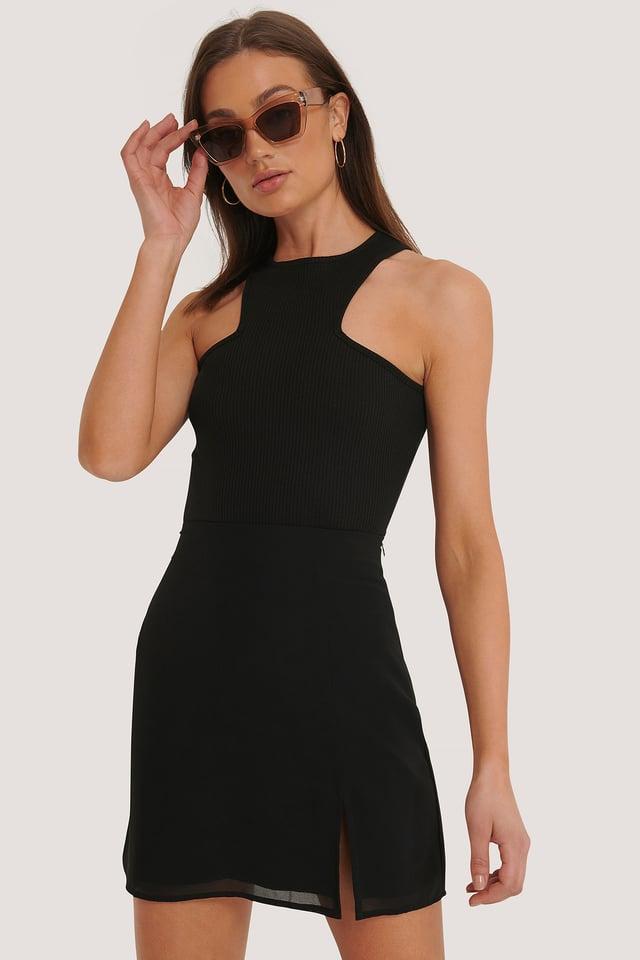 Mini Slit Skirt Black