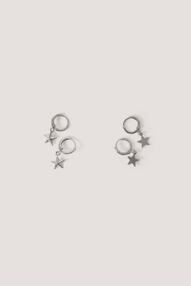 Mini Star Pendant Earrings (2-pack) Silver