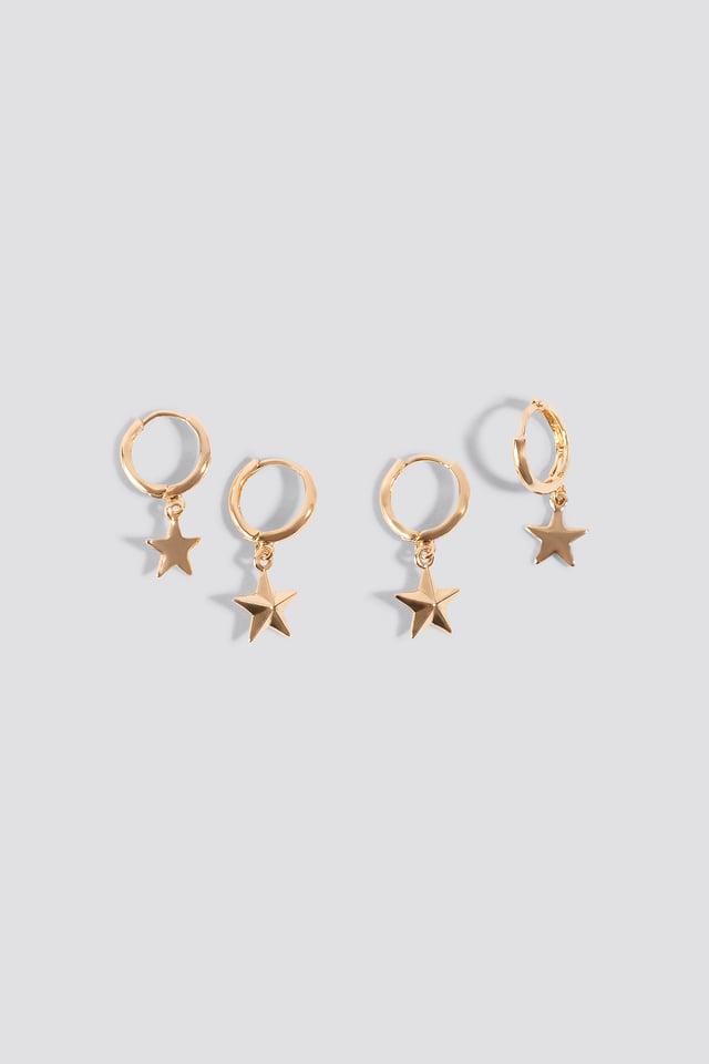 Mini Star Pendant Earrings (2-pack) Gold