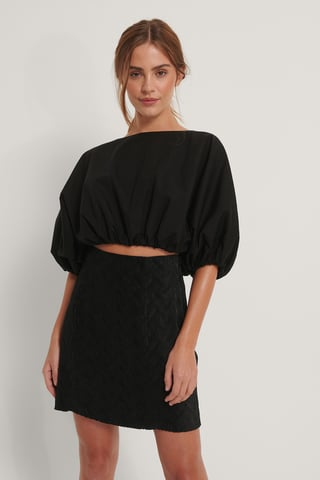 Black Mini Structured Skirt