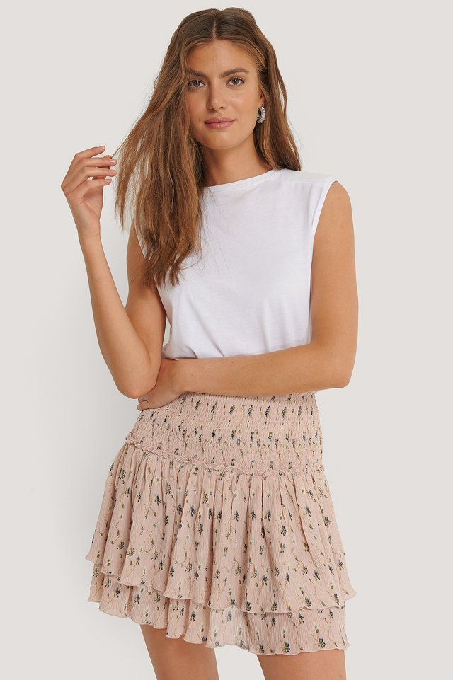 Mini Structured Smocked Skirt Dusty Pink