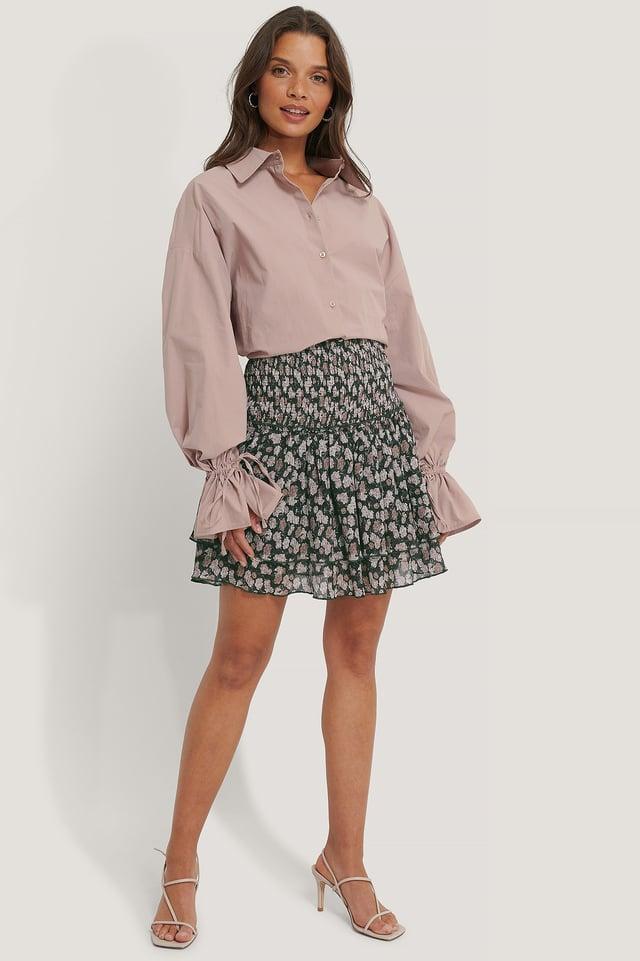 Pink Flower Mini Structured Smocked Skirt