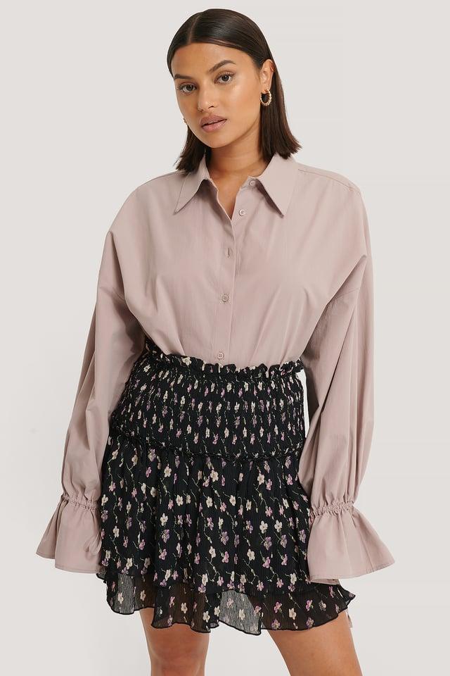 Mini Structured Smocked Skirt Black Flower