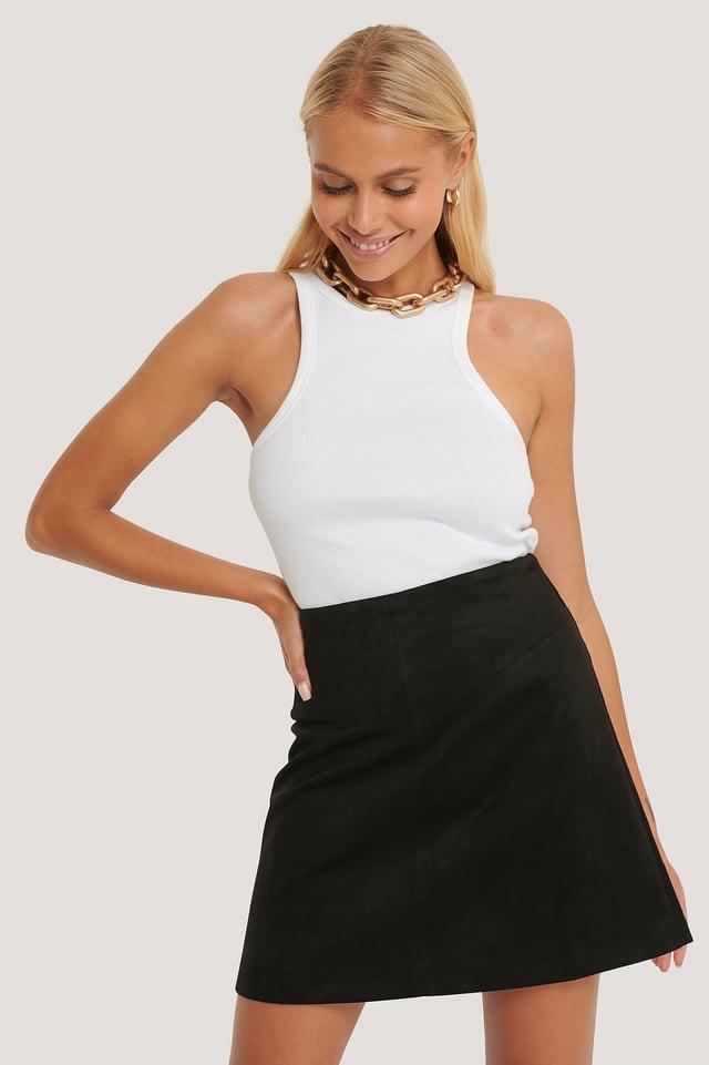 Mini Suede Skirt Black