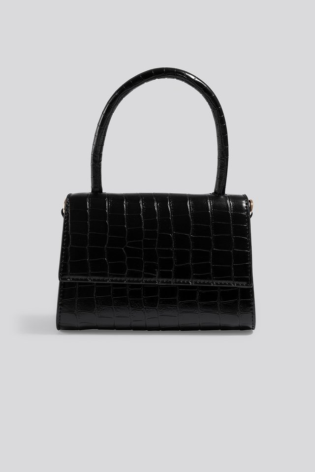 Mini Top Handle Flap Bag Black
