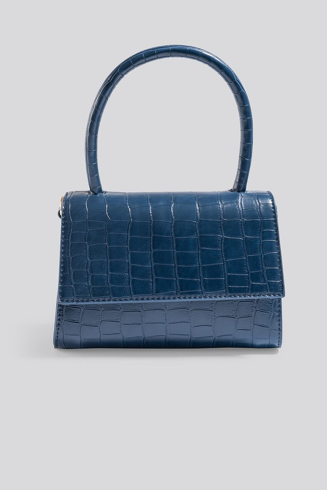 Mini Top Handle Flap Bag Dark Blue