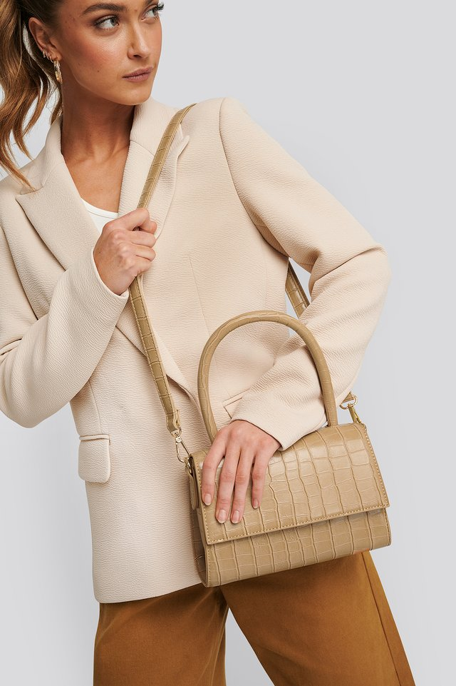 Mini Top Handle Flap Bag Light Beige