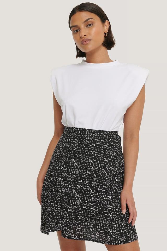 Black/White Flower Print Mini Wrapped Skirt