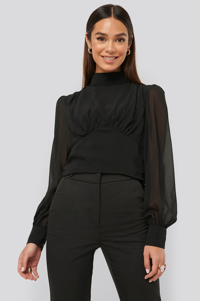High Neck Puff Sleeve Blouse Black