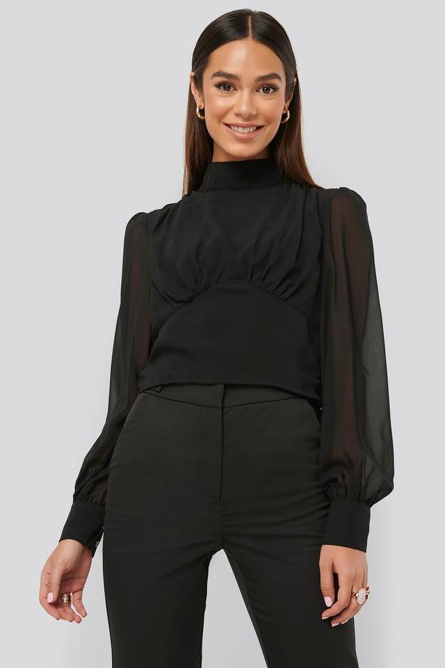 High Neck Puff Sleeve Blouse Black