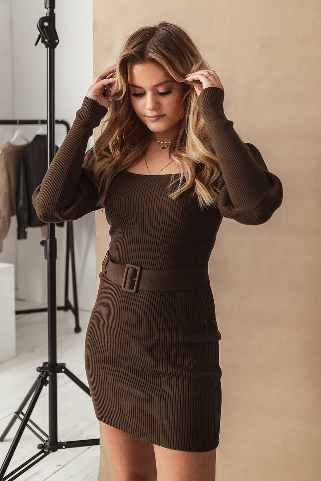 Puff Sleeve Knitted Dress Cocoa