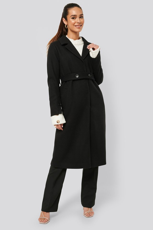 Sleeve Slit Coat Black