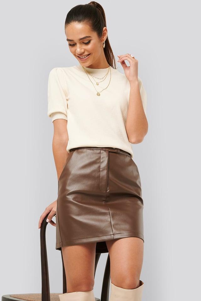 Waist Detail PU Skirt Cocoa