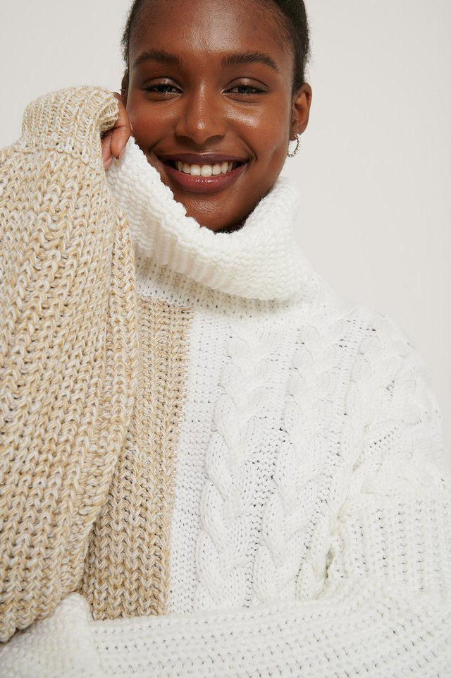 White/Beige Mixed Knit High Neck Sweater