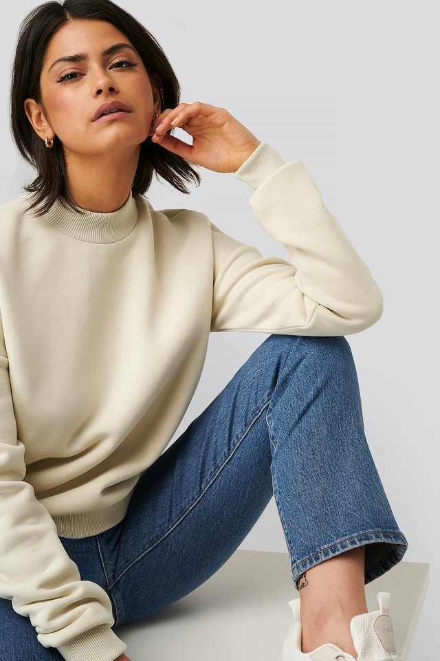 Dusty Light Beige Mock Up Neck Sweater
