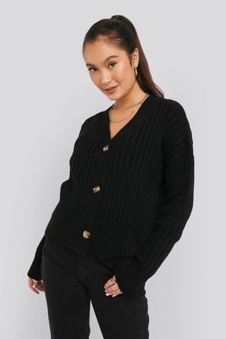 Black Mohair Blend Chunky Cropped Cardigan