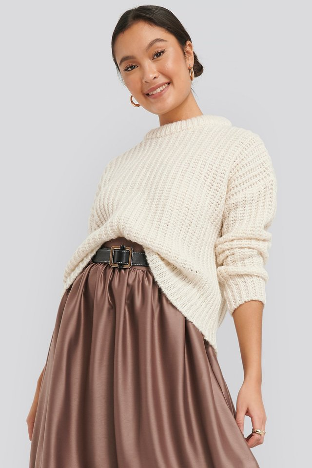 Mohair Blend Chunky Ribbed Sweater Off White