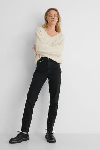 Black Ekologiska Mom-jeans