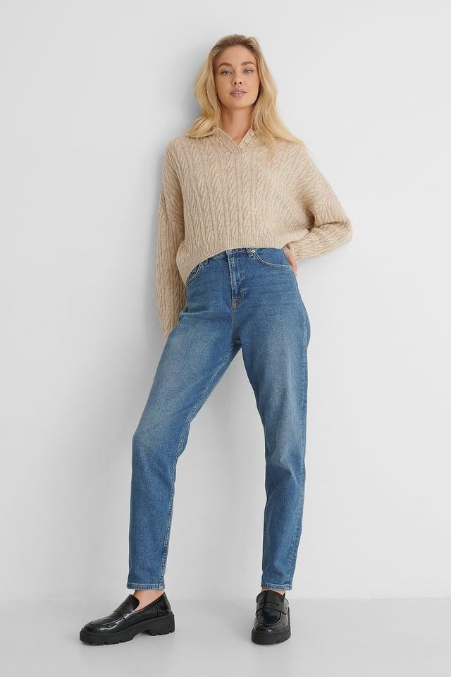 Mid Blue Mom Jeans Tall