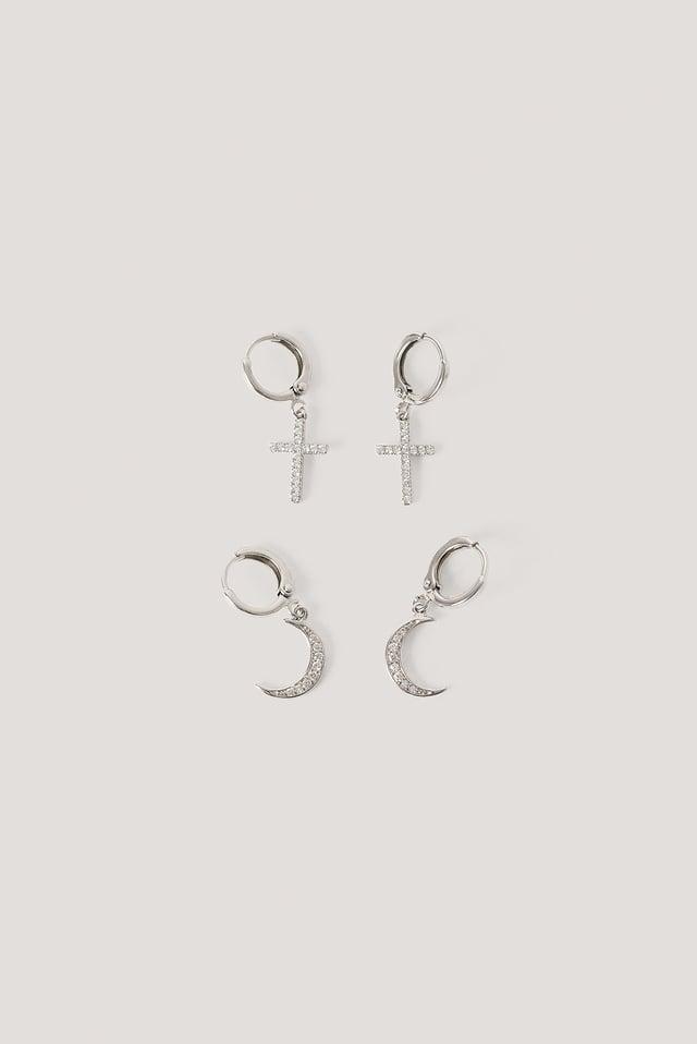Moon Cross Earrings Silver
