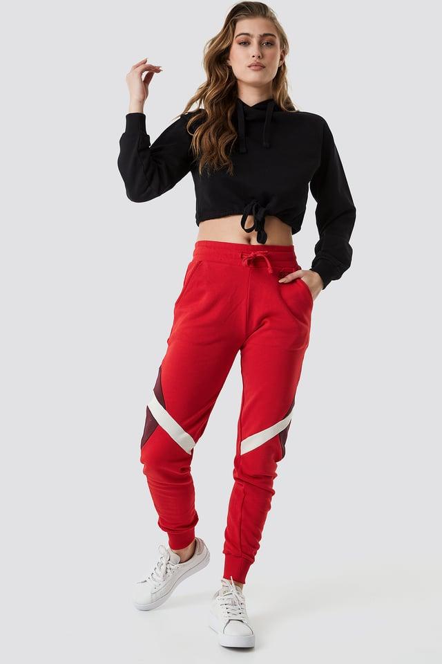 Multi Blocked Sweatpants Red