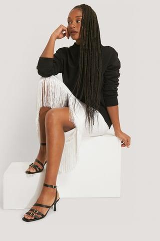 Black Multi Buckle Squared Toe Heels