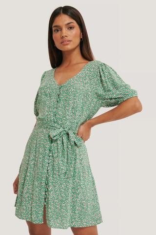 Green Flower Minikjole Med Flere Knapper
