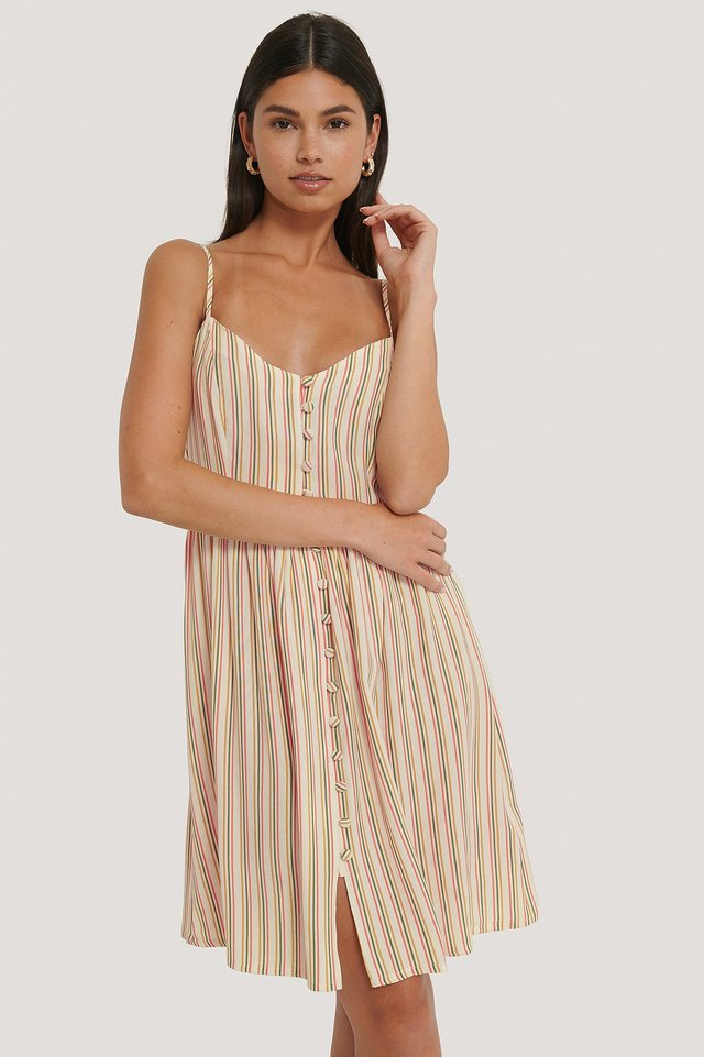 Multi Button Strappy Dress Multi Stripe