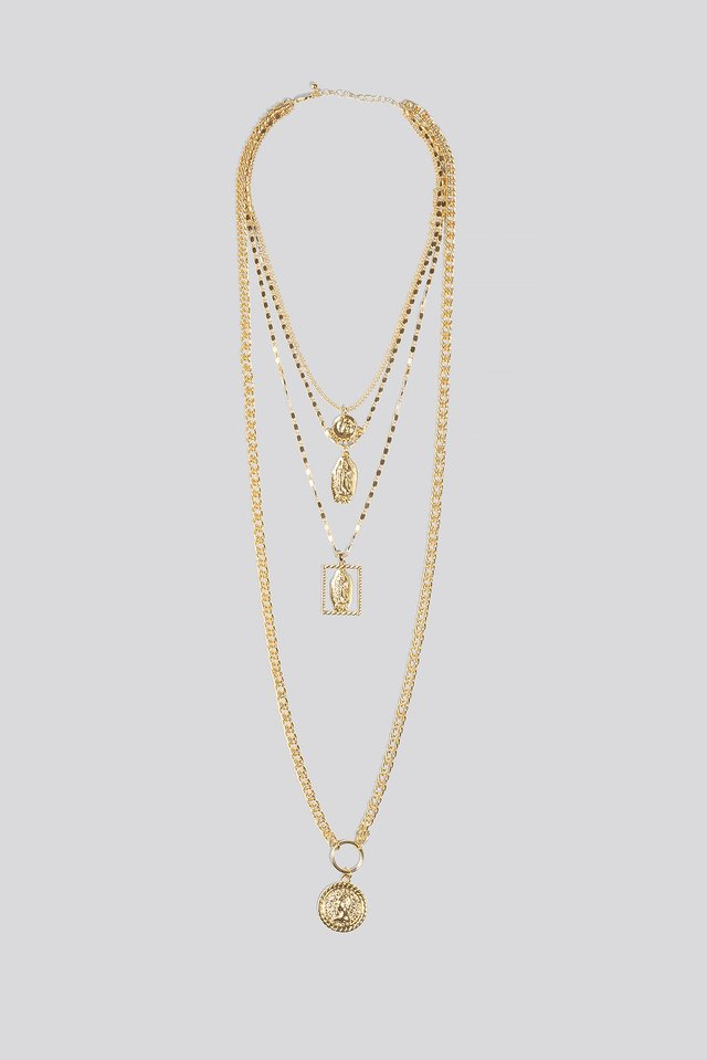Muliti Coin Chain Layered Necklace Gold
