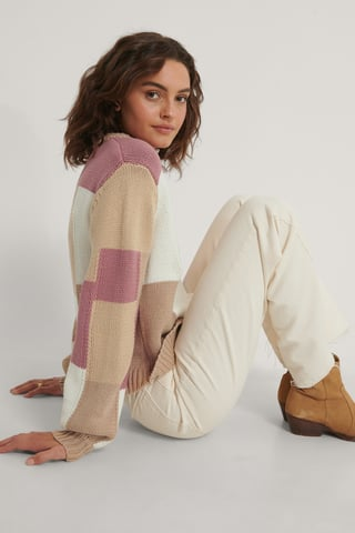 Pink Multi Color Blocked Knitted Sweater