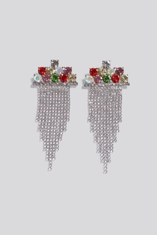 Multi Multi Color Hanging Strass Earrings