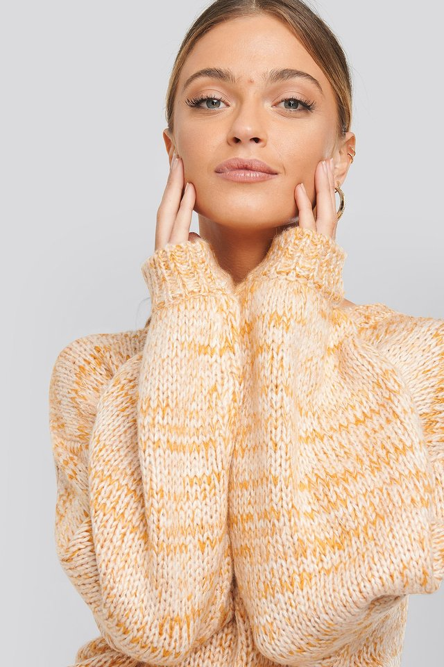 Multi Color Knitted Sweater Orange