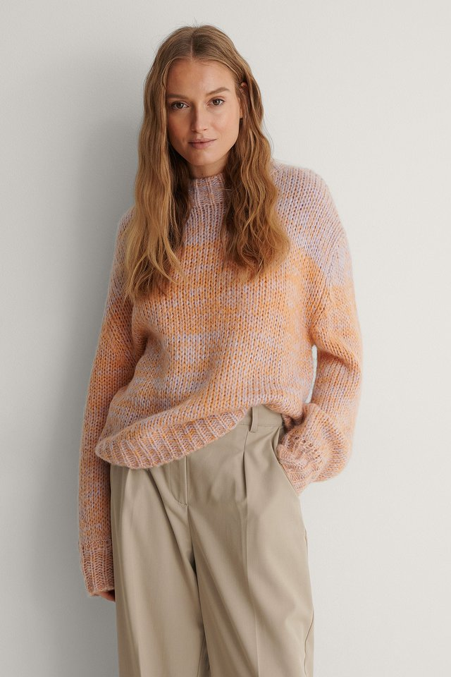Pink Multi Color Round Neck Knitted Sweater