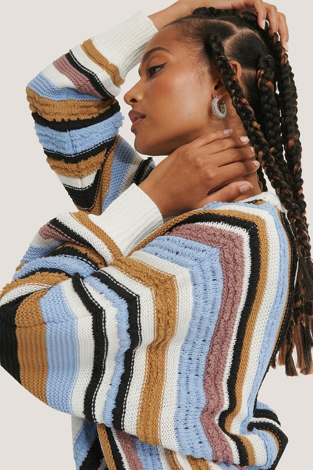 Multi Color Striped Knitted Sweater Stripe