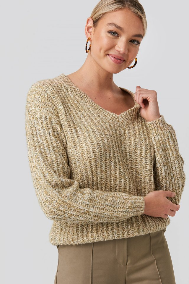 Beige Multi Color V-neck Knitted Sweater