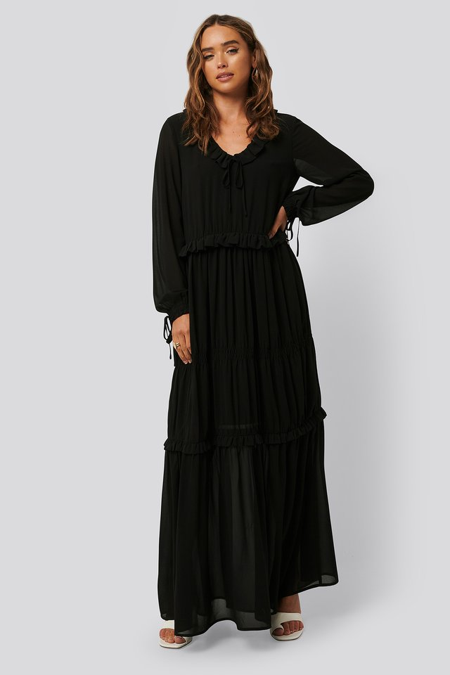 Multi Frill Flowy Dress Black