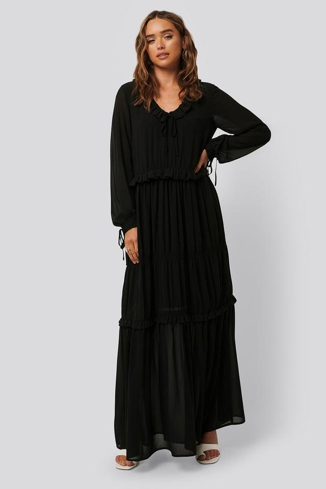 Black Multi Frill Flowy Dress
