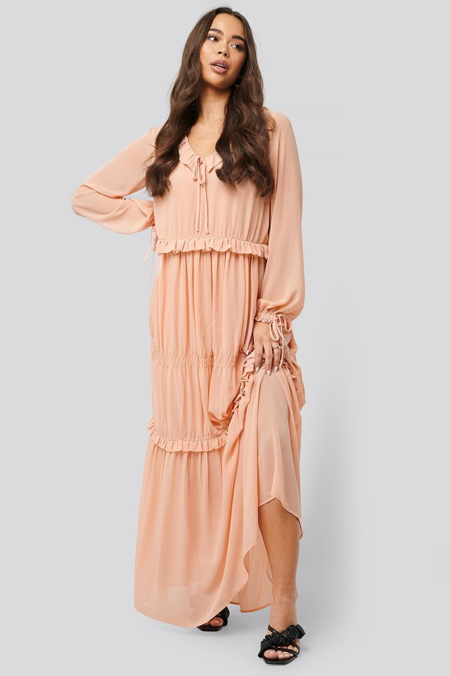 Multi Frill Flowy Dress Dusty Pink