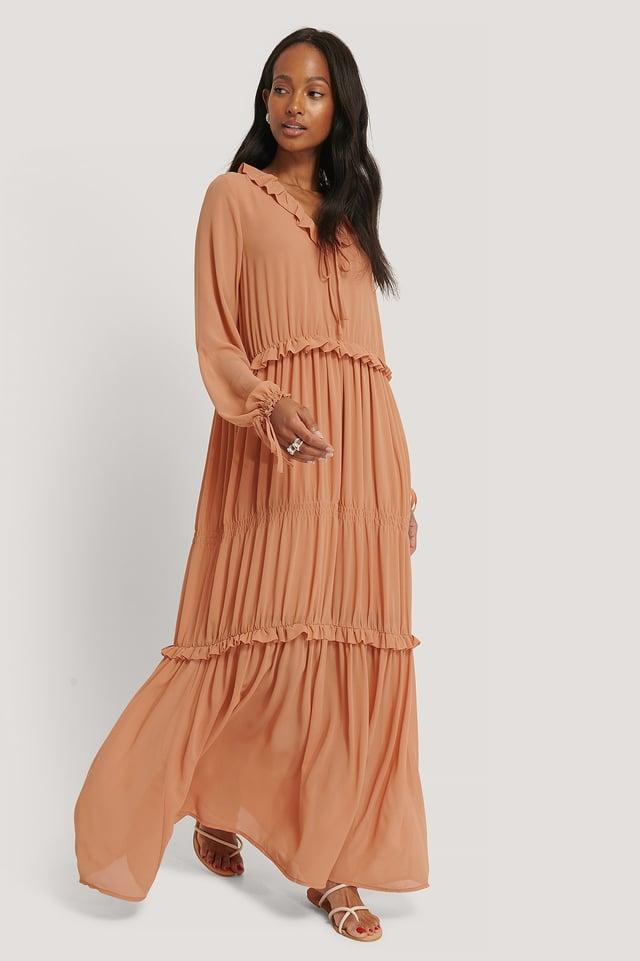 Multi Frill Flowy Dress Peach