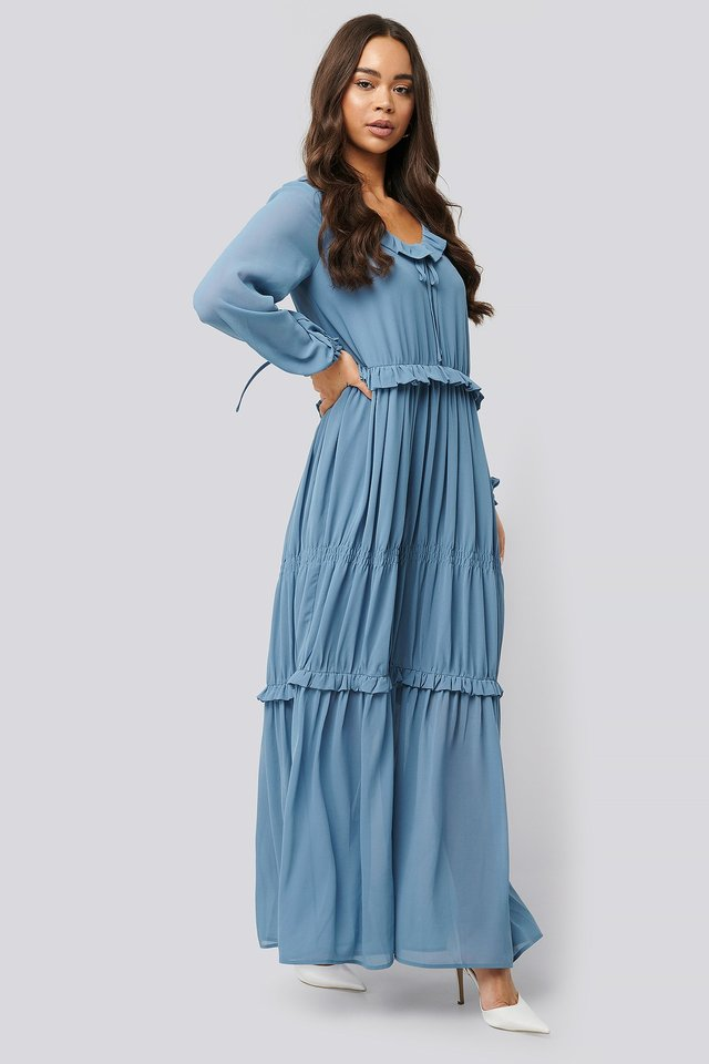 Multi Frill Flowy Dress Dusty Blue