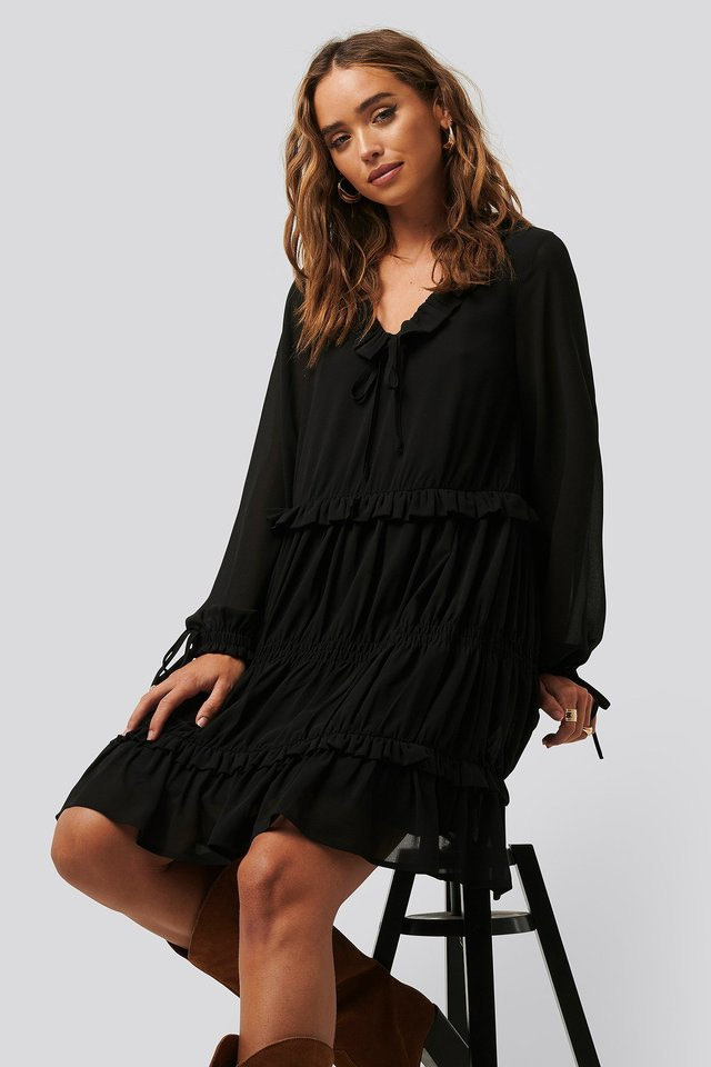 Black Multi Frill Flowy Mini Dress