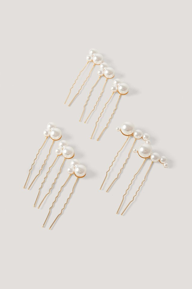 Multi Pearl Decorated Hair Pins Gold/White