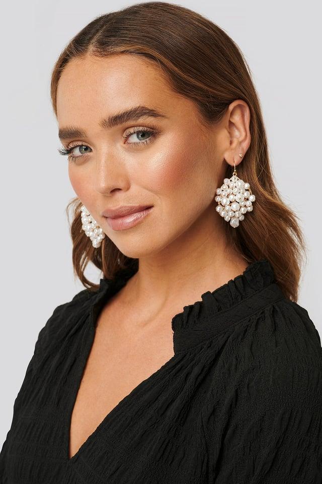 Multi pearl Hanging Earrings White