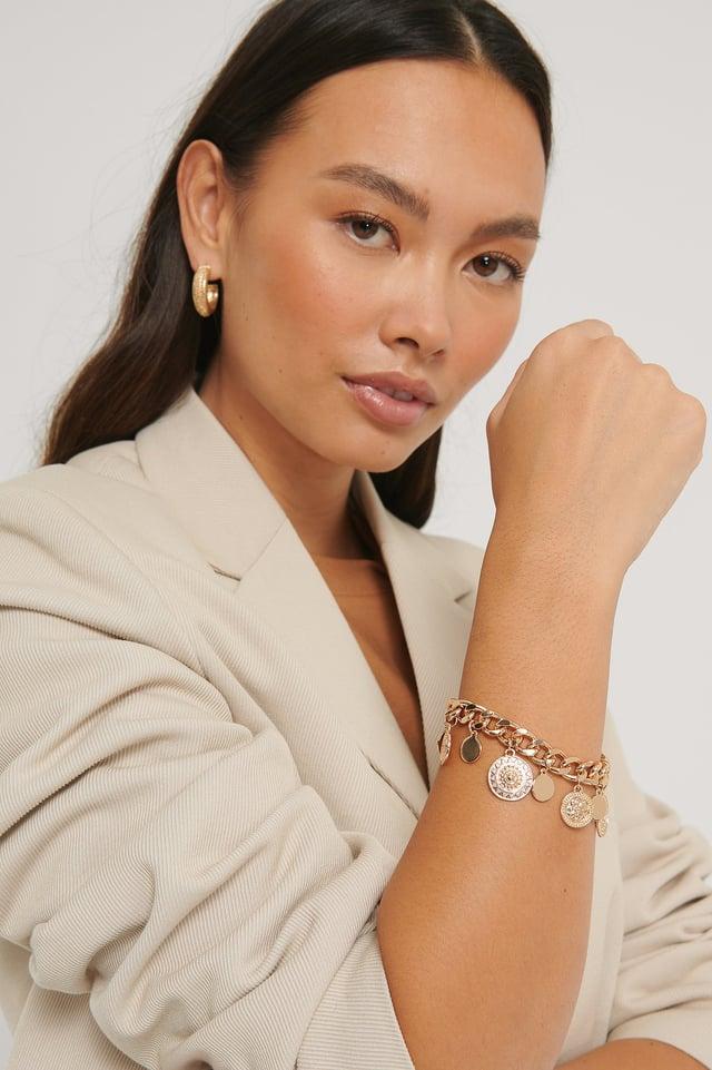 Multi Pendant Chain Bracelet Gold
