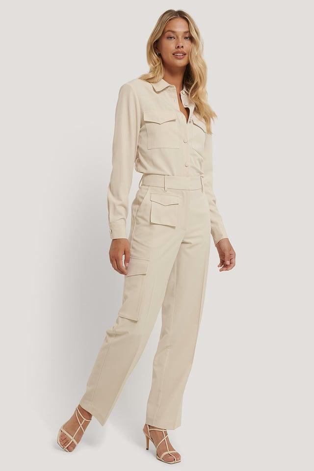 Cream Kostymbyxa Med Fickor
