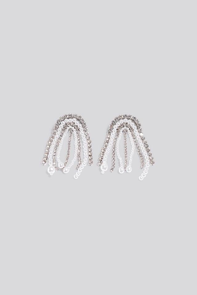 Multi Rhinestone Pearl Drop Earrings Silver