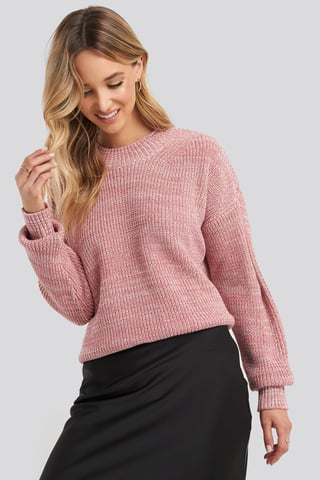 Dusty Rose Multicolour Yarn Knitted Sweater