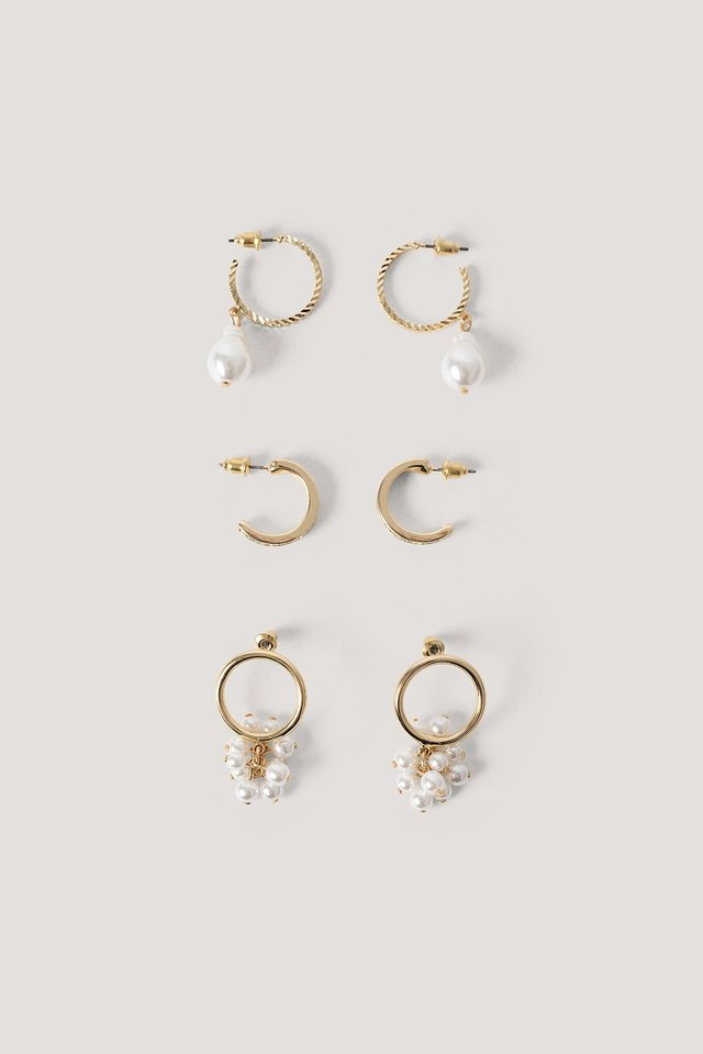 Multipack Beaded Mini Hoops Gold